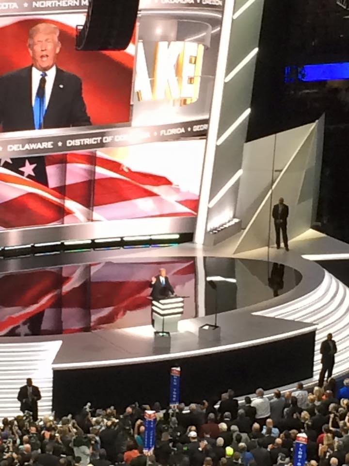 Donald Trump addresses delegates