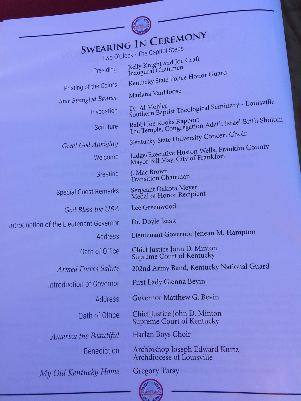 Swearing in Ceremony Schedule