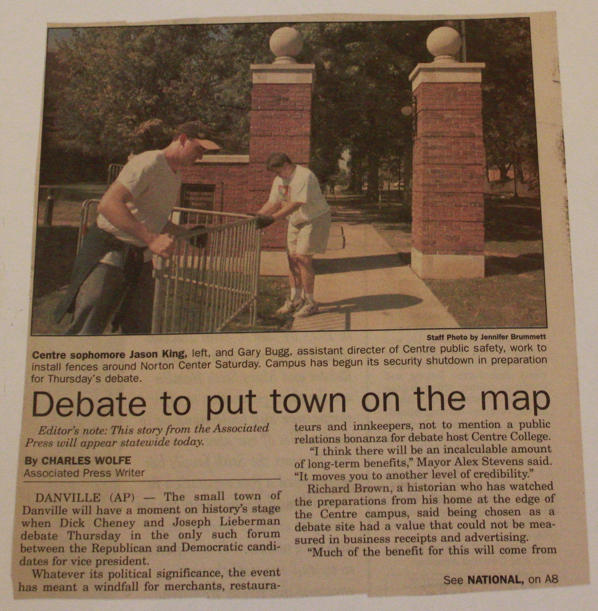 Centre College, Kentucky Debate