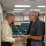 Senator Mitch McConnell talks with former Boyle County Republican Party Chairman Tom McClain