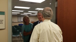 Danville Mayor Bernie Hunstad and his wife, Susan, talk with Senator Mitch McConnell