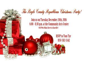 Boyle County GOP Christmas Invitation 2016